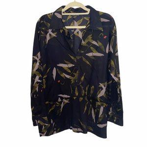 Leaf Print 100% Cotton Long Sleeve Pockets Large